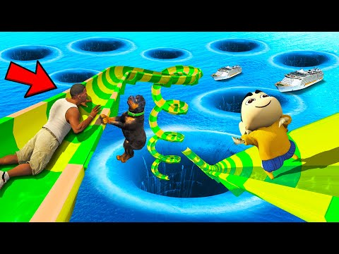 SHINCHAN AND FRANKLIN TRIED THE IMPOSSIBLE HIGHEST WATER SLIDE MELA DEEPEST HOLE CHALLENGE GTA 5