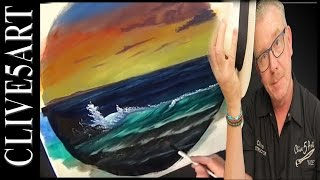 Summer Waves | Bob ross | style Acrylic painting for beginners | #clive5art