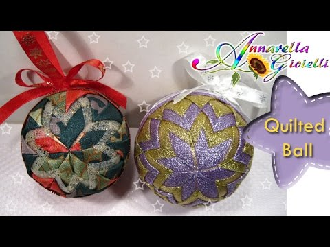 Tutorial palla di natale con stoffa diy quilted ball for Tutorial fermaporta di stoffa
