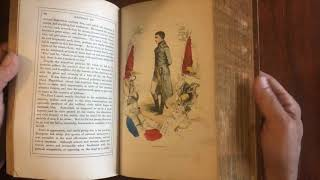 Napoleon Life Illustrated 1853 beautiful pictorial rare leather book hand colored plates military
