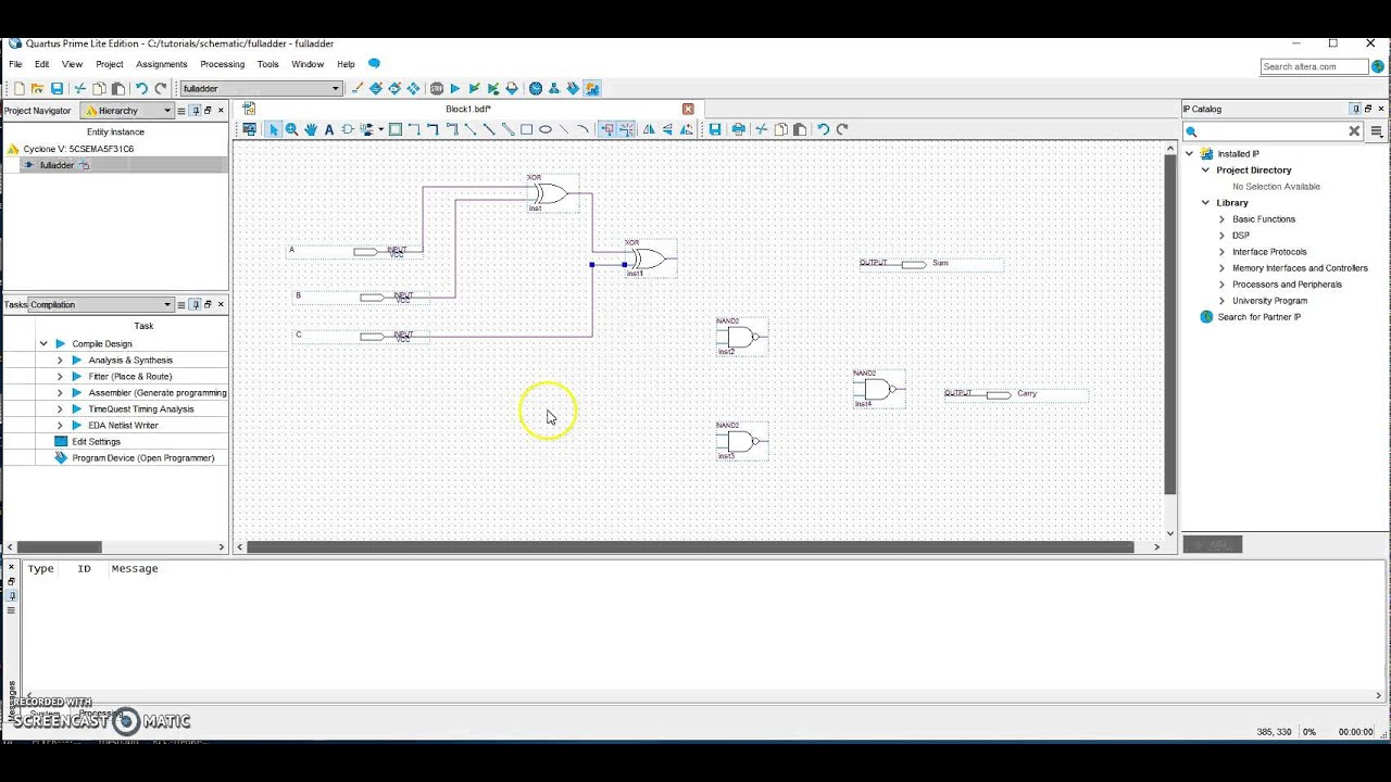 Quartus Prime Lite Csd P1 Basic Circuits Using Logic Gates Digsys Gate Diagram Show State Transition Cheggcom Creating A Schematic In Edition Youtube