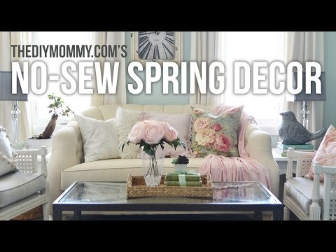 No Sew Spring Decor Ideas | DIY Drapes, Pillow Cover + Throw Blanket Tutorial