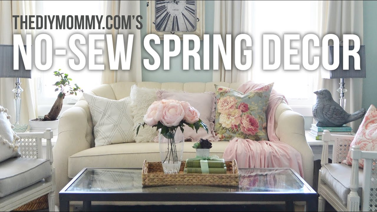 No Sew Spring Decor Ideas | DIY Drapes, Pillow Cover + Throw Blanket  Tutorial   YouTube