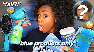 Styling My NATURAL Hair ONLY Using BLUE Products