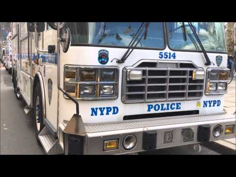 WALK AROUND OF THE RARE NYPD ESS TRUCK 11 ON PARADE DUTY ON W. 59TH ST. IN MIDTOWN, MANHATTAN, NYC.