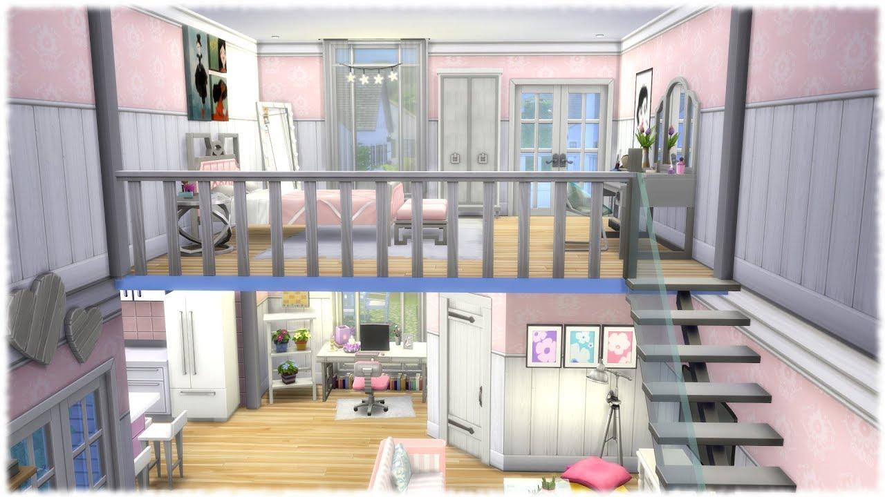 The Sims 4 Speed Build Girly Loft No Cc Youtube