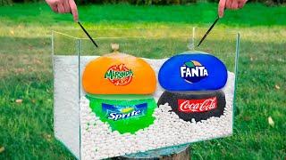 Experiment: Giant Balloons of Coca Cola & Fanta & Sprite & Mirinda VS Mentos