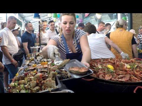 Огромные сковороды для приготовления огромных доз рыбы. Kiev Street Food, Украина
