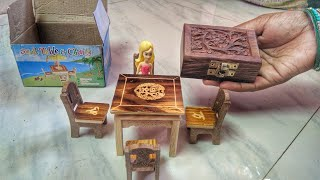 Miniature Wooden Dining Table + wooden magic box! exclusive unboxing