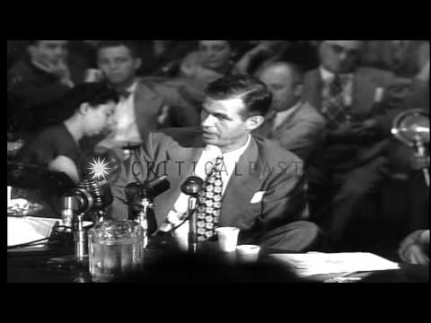 Alger Hiss testifies before the House Committee on Un- American Activities in Was...HD Stock Footage
