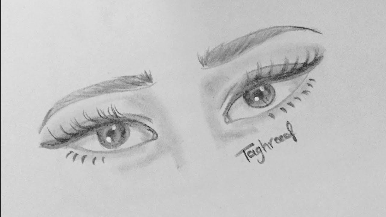 How To Draw A Cute Eyes Easy Easy Pencil Drawing Youtube