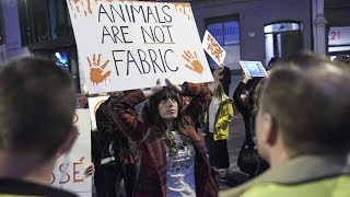 Animal rights protesters disrupt luxury fashion brand show