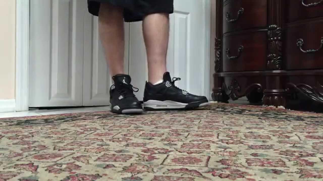 0fafee31fd1 Air Jordan 4 IV Oreo Tech Grey On Foot