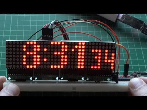 Arduino and MAX7219 LED Matrix clock and thermometer