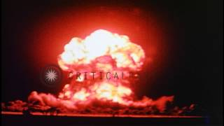 Atomic blast over water during a nuclear test at Bikini Atoll, Micronesian Island...HD Stock Footage