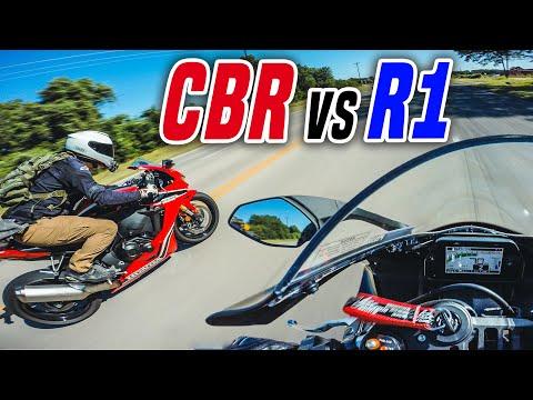 Yamaha R1 vs Honda CBR1000RR - 160mph+ RACE!!