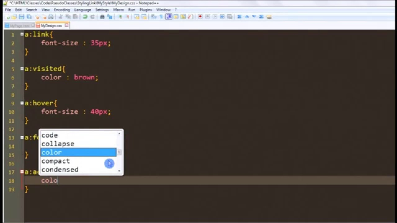 How To Style Links In HTML / CSS | :link, :visited, :hover,:active ...