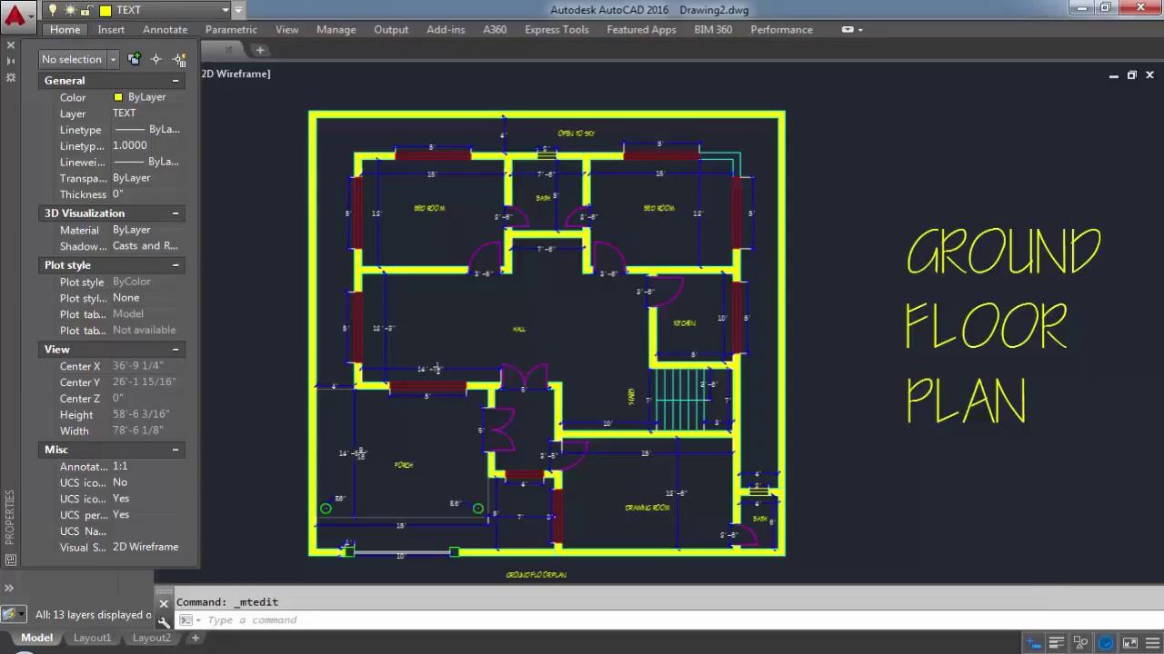 Autocad Simple Floor Plan Youtube