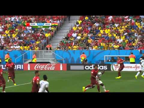 Asamoah Gyan Great Header Goal Ghana 1-1 Portugal World Cup HD