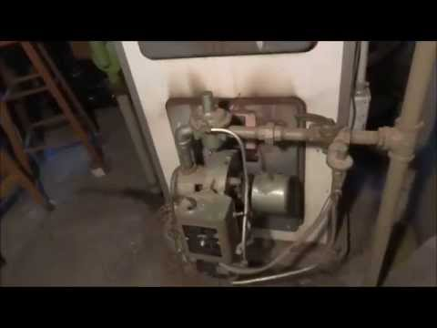 very old gas conversion burner, one if the first