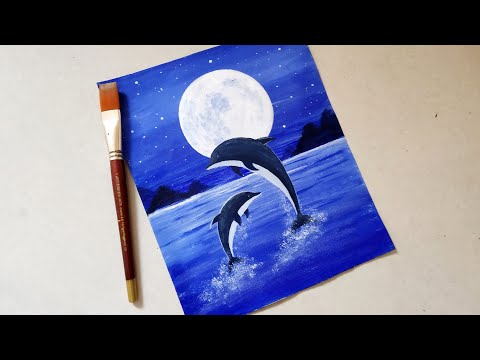 easy-dolphin-moonlight-landscape-scenery-drawing-with-acrylics-step-by-step-tutorial-for-beginners