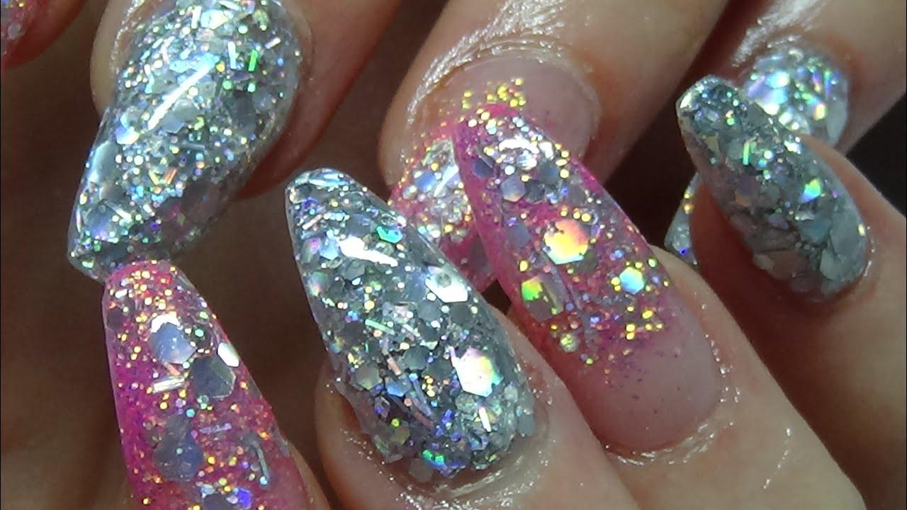 full on glitter acrylic nails (bling bling) - YouTube