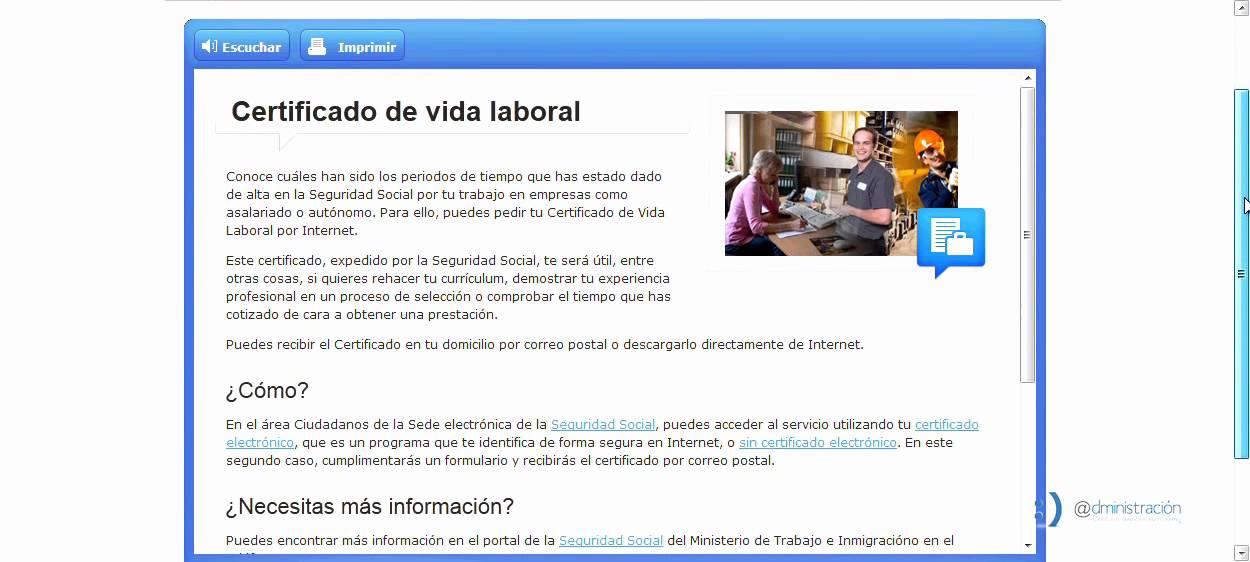 Obtención del certificado de vida laboral - YouTube