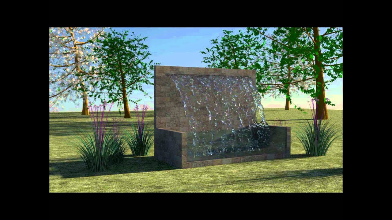 3ds max and realflow water feature in garden youtube for My garden 3d