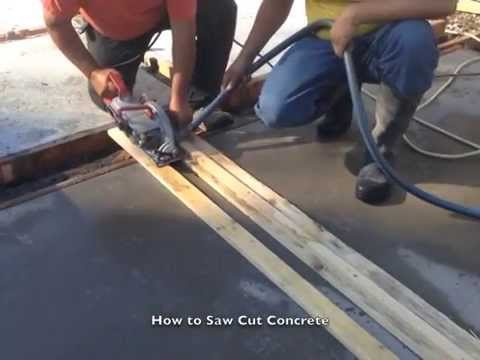 How to saw cut concrete youtube for How to make designs in concrete