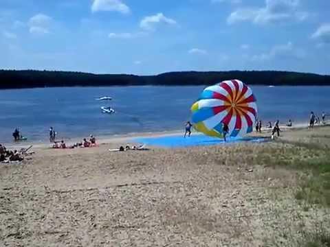 Failed Flights behind a boat on a parachute / Cha?cza / Staszów /