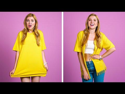 TRUCOS DIY PARA LA ROPA Y LA MODA || Ideas geniales de reutilización de ropa de 123 GO! Spanish