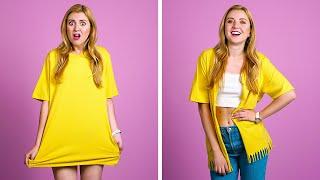 TRUCOS DIY PARA LA ROPA Y LA MODA || Ideas geniales de reutilización de ropa de 123 GO!