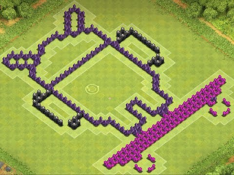 Clash of Clans - Pixel Art TH9 Base Design - Android Andy Skateboard Logo - YouTube