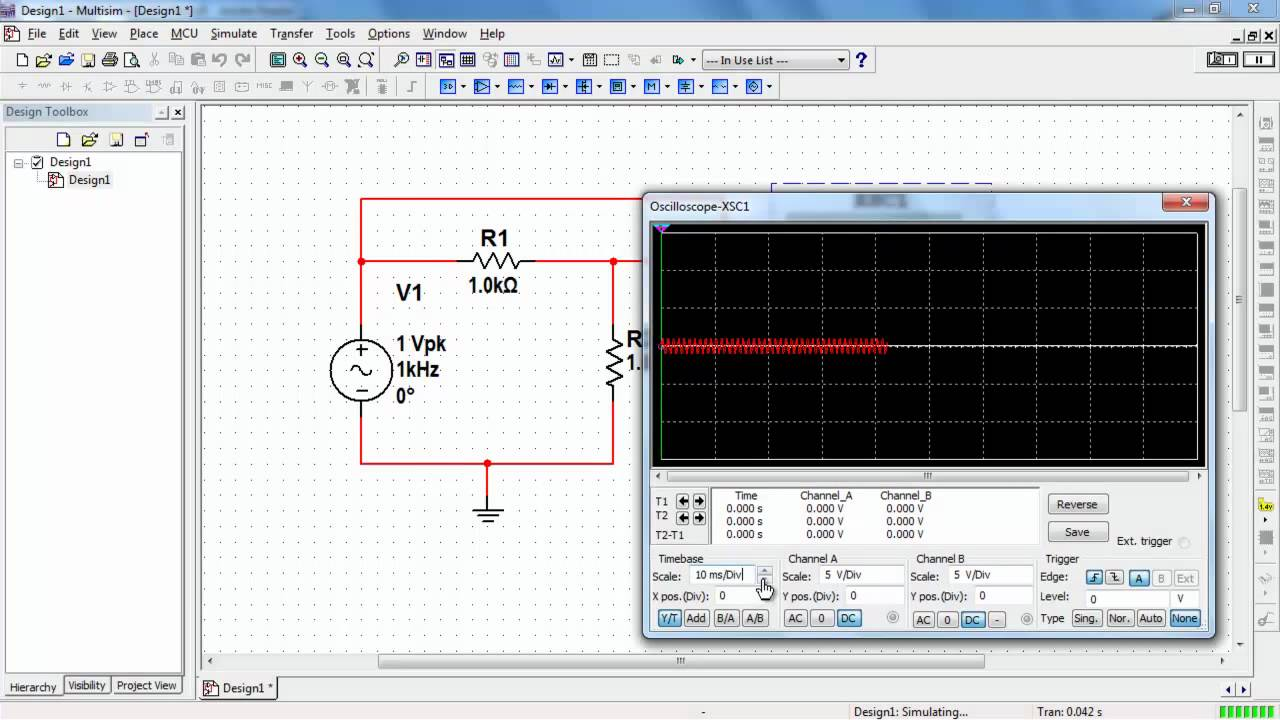 Ni Multisim Basic Operation Of The Two Channel Oscilloscope Youtube Jfet Ac Coupled Integrator