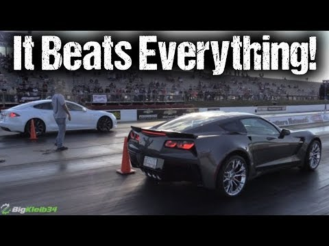 Tesla Stuns Hellcat Corvette Z06 More Drag Racing Compilation
