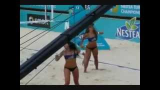 Beautiful girls beach volleyball bikini dance team cheerleader…