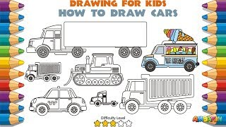 Learn Cars for Kids. How To Draw for Kids. Coloring Pages Animation. Trailer, Taxi, Ice Cream Truck