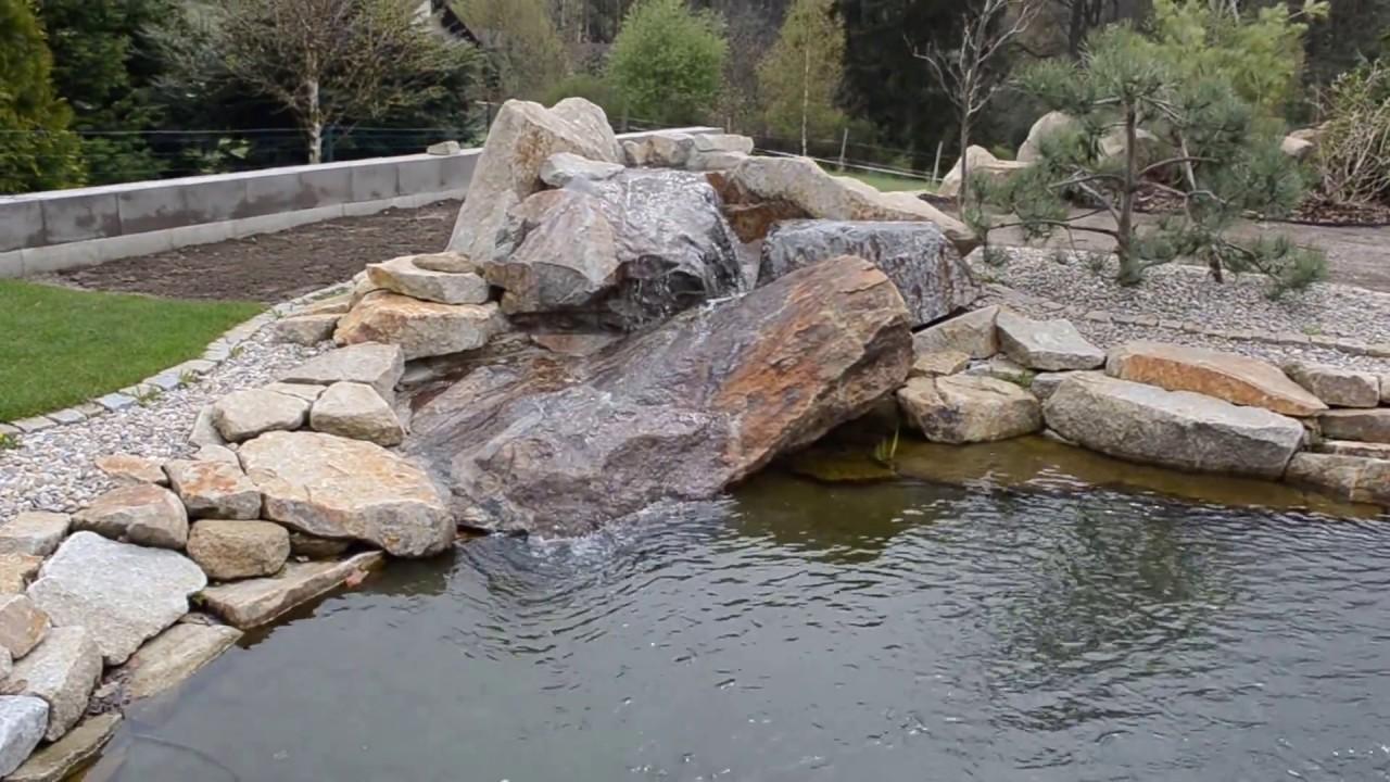 Vodopád zahradního jezírka - YouTube