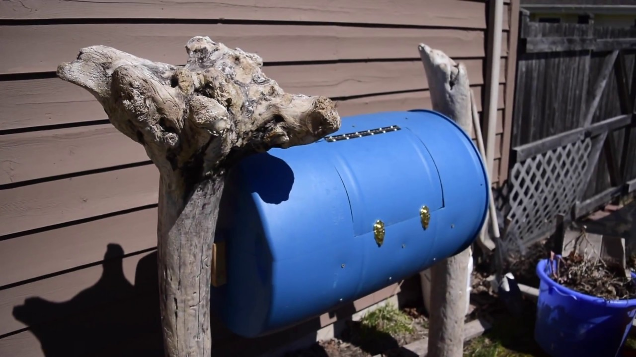 homemade compost tumbler made from 55 gallon drum youtube. Black Bedroom Furniture Sets. Home Design Ideas