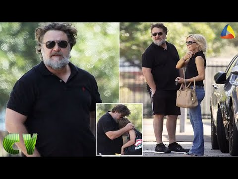 Russell Crowe, 53, looks almost unrecognisable with a bushy grey beard   CV US BIZ
