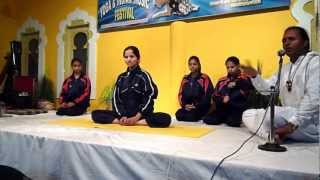 "Yoga demonstration at the ""1st Free International Yoga & Indian Music festival"" Rishikesh"