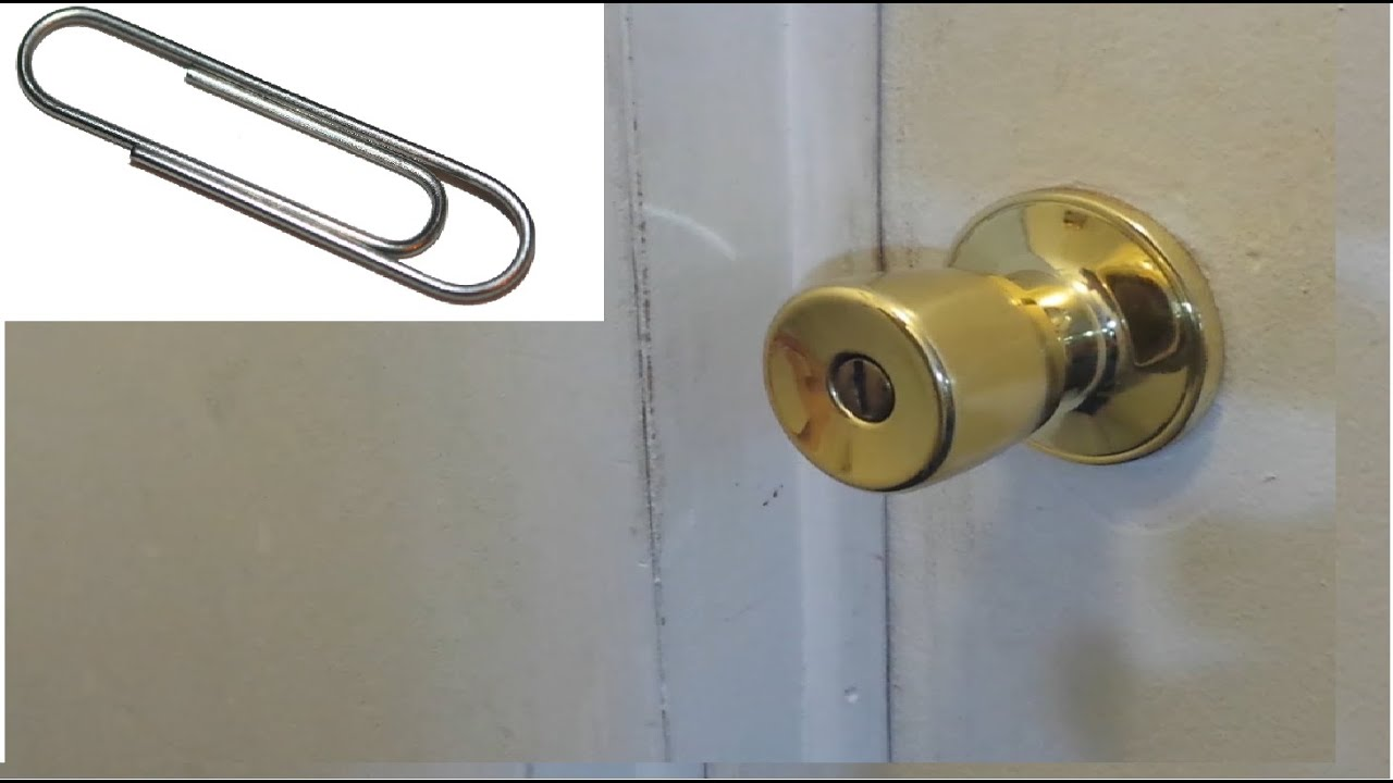 Unlock Any Door With A Paper Clip Hack Youtube