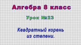 Алгебра 8 класс (Урок№23 - Квадратный корень из степени.)