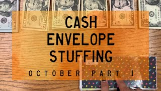 Cash Envelope Stuffing | October Checks #1 (combined incomes) | BudgetWithBri