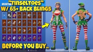 "BEFORE YOU BUY - ""TINSELTOES"" SKIN Showcased With 65+ BACK BLINGS! Fortnite Battle Royale - ELF SKIN"