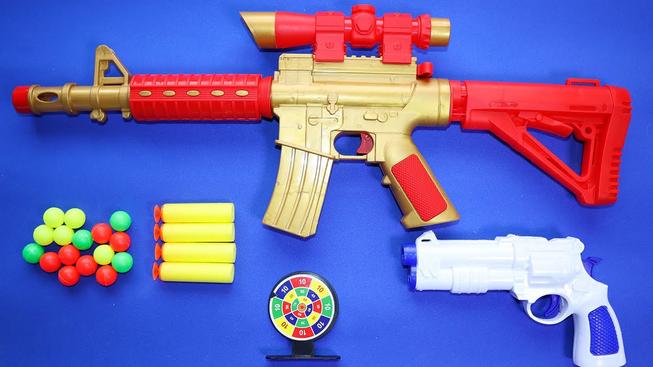 Set de Armas SHOOTING; Fusil, Revólver, Tiro al Blanco, Balas de Espuma y Esferas | REVIEW
