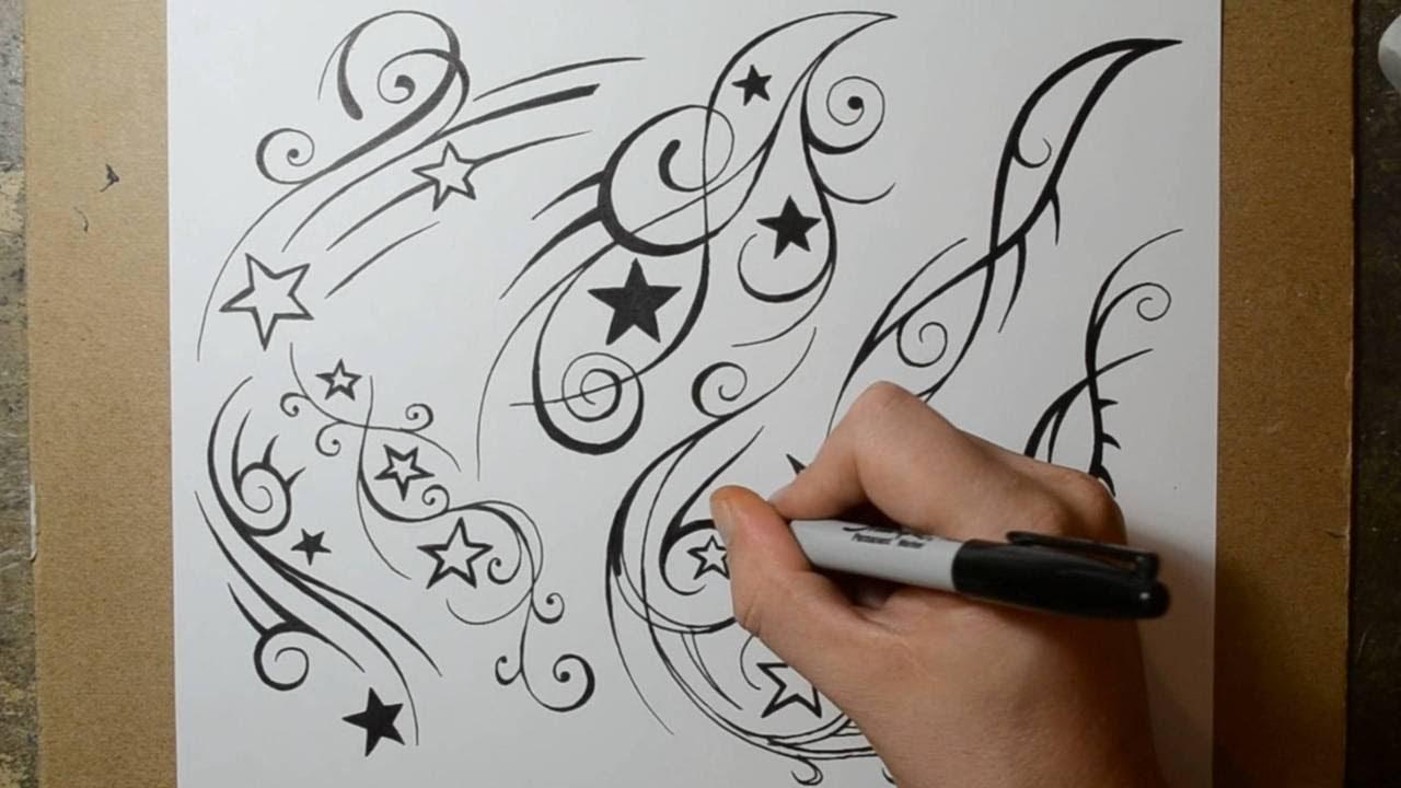 Shooting Star Tattoo Design Ideas - Sketch Sheet 2 - YouTube