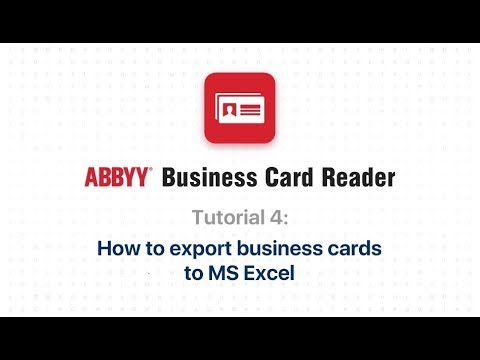 Abbyy Bcr 4 How To Export Business Cards To Ms Excel
