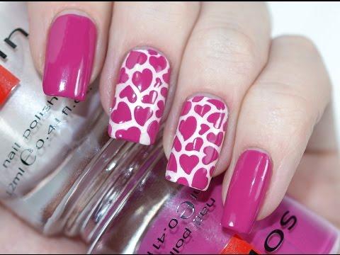 Красивый Дизайн Ногтей с Сердечками на День Святого Валентина / Valentine's Day Nail Art