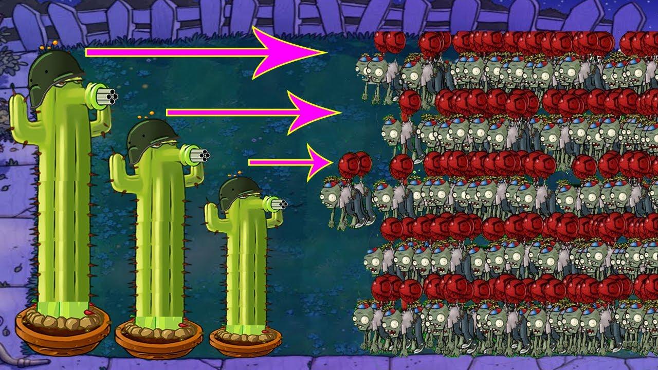 Cactus vs Balloon Zombie vs All Zombies PvZ | Plants vs Zombies Battlez